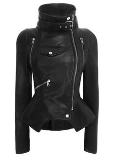 Black peplum leather biker jacket #style #black