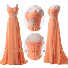 Sweetheart orange chiffon long beaded prom dress, graduation dress, wedding dress from Prom Dress 2014 on Storenvy