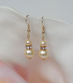 Swarovski light gold crystal pearl earrings by ParkhillDesigns on Etsy