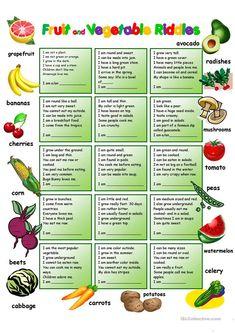 Fruit and Vegetables Riddles with KEY worksheet - Free ESL printable worksheets made by teachers