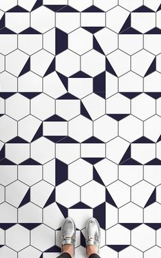 Berlin is a Black and White Geometric Vinyl Flooring design that features a hexagonal tile effect, made up of clean white shapes with graphic dark gre. Hexagon Tile Backsplash, Hexagon Tile Bathroom, Bathroom Vinyl, Hexagon Tiles, Vinyl Flooring Bathroom, Vinyl Tiles, Black And White Backsplash, Black And White Tiles, White Vinyl Flooring