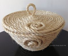 Coiled Sisal Rope Basket With Lid
