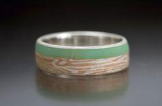 Mokumé Gane 16kt red gold Sterling Silver Chrysoprase inlay ring