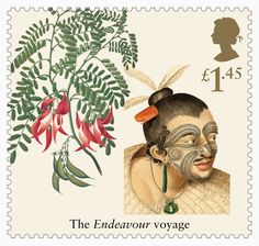 Great Britain 2018 - Captain Cook and Endeavour - -Scarlet Clianthus Uk Stamps, Postage Stamps, Captain James Cook, The Endeavour, Royal Academy Of Arts, Flower Stamp, Penny Black, Stamp Collecting, Mail Art