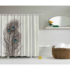Natural Peacock Tail Feathers Eyes Pearl Ivory Ecru Bathroom Art Shower Curtain