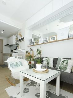 An All-White Studio Unit in Quezon City All-White Condo in Quezon City Studio Type Condo Ideas Small Spaces, Small Studio Apartment Design, Beds For Small Spaces, Condo Interior Design, Small Apartment Interior, Condo Design, Apartment Layout, Home Room Design, Interior Shop
