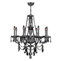 DINING ROOM Provence 8-Light Chrome and Smoke Crystal Chandelier