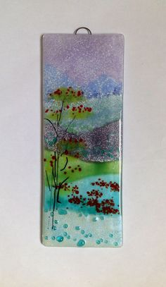 """Misty mountains in fused glass. 9 x 3"""" panel by Fired Creations"""