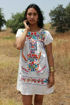 Beautiful Bohemian Mexican Mini Dress Natural Cotton by Vdingy, $48.00