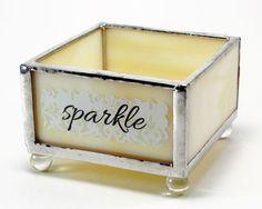 Cream Glass Jewelry Tray, Earring Organizer, Small Jewelry Storage Box, Jewelry Container, Ring Tray, Stain Glass Box, Glass Jewelry Holder