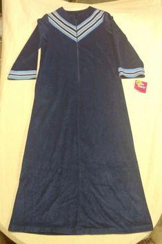 Vintage Women Ladies Monte Carlo Uwana Velour L/S Robe Blue 1/2 Zip Sz Small NWT #UWANA