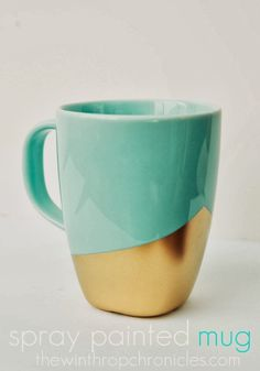 DIY spray painted mug - perfect for sipping hot chocolate by the fire