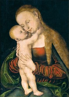 LUCAS CRANACH (1472 - 1553): Madonna and Child (1537, National Museum of Art of Romania)