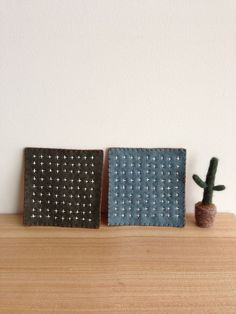 Wool Felt Coaster Sashiko khaki Japanese by seasonsforyou on Etsy, $15.00