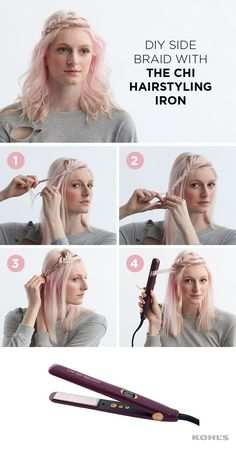 This ethereal hairstyle is perfect for keeping your hair off your face and a twist on special-occasion hair. And it's easy to DIY, to boot! To achieve the look, create a small braid with your bangs and pin down away from your face to the side. Sleek Hairstyles, Cute Hairstyles, Braided Hairstyles, Wedding Hairstyles, Hairstyle Ideas, Bandana Hairstyles, Homecoming Hairstyles, Style Hairstyle, Vintage Hairstyles