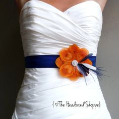 Wedding Sash Peacock Belt Bridal Accessory - TUSCANY - Orange Peacock Bridal or Bridesmaids Sash on Navy Blue - Made to Order