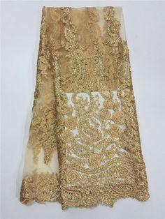 DPN3101 hilo de Oro Africano tela de Encaje para el vestido de fiesta de Tul, 2016 Recién llegado de malla de tela de encaje red Africana al por mayor y al por menor