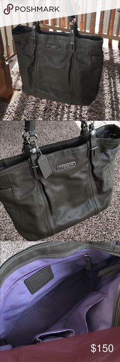 Coach Handbag Tote This grayish/tan w purple interior designer Coach Handbag was my go to for years, but I now have new go to's ... it's super cute & goes w everything.  Place your best offer today! :) Coach Bags Totes