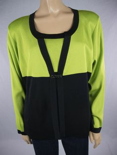 MISOOK Twinset Black & Green Cami Jacket Sz Petite L PL