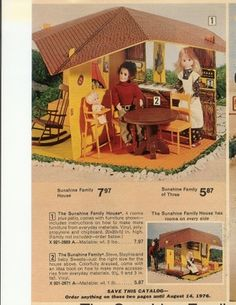 """Sunshine family house, good heavens, does that price say 7.97? That was my """"big gift"""" in maybe 1976 or '77. I was a little weirded out by the wide eyes on these dolls, I always felt like these """"people"""" could get indoctrinated by Jim Jones & move away to Guyana at a moments notice."""