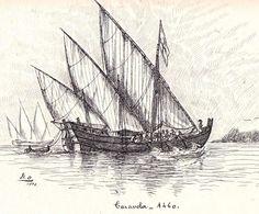 Caravela Portuguesa usando Vela Latina.                                                                                                                                                                                 Mais