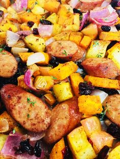 One Pan Chicken Sausage with Sweet Potatoes and Apples is the perfect easy weeknight dinner idea, easy clean up too is a bonus! One Pan Chicken Sausage with Sweet Potatoes and Apples is the perfect easy weeknight dinner idea, easy clean up too is a bonus! Chicken Sausage Recipes, Chicken Apple Sausage, Sweet Potato And Apple, Sweet Potato Recipes, One Pan Chicken, How To Cook Chicken, Honey Chicken, Cooked Chicken, Chicken Salad