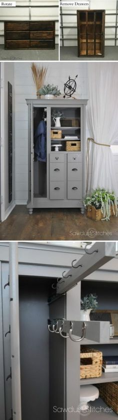 Dresser Makeover into a Mini Mudroom. 30 Fabulous Furniture Makeover DIY Projects