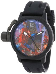 Marvel Comics Men's MA0707-D485-BlackRubber 'Spider-Man' Crown Protector Watch -- #NoveltyWatchesGiftIdeas