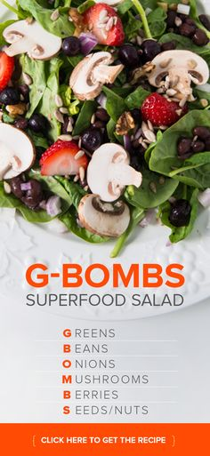 Week 2- Eat a G-BOMBS salad for lunch! G-BOMBS are nutrient-dense foods that are rich in vitamins, minerals, phytochemicals and antioxidants – and are low in calories. They are the key to dramatic weight loss, optimal overall health, and longevity. Try this healthy & tasty G-BOMBS salad recipe.~Enjoy! #MM90DAY