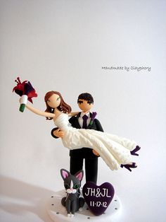 Honeymoon Jitters with cat  Customized wedding cake by Clayphory, $140.00