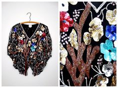 Heavily Beaded Butterfly Sequin Top // Art Deco Beaded Blouse // Oversized…