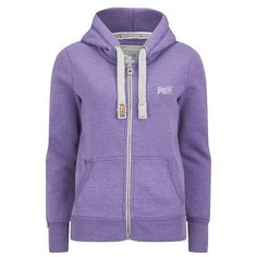 Superdry Women's Orange Label Pop Zip Hoody ($76) ❤ liked on Polyvore featuring tops, hoodies, purple, cotton hooded sweatshirt, cotton hoodie, hooded sweatshirt, purple hoodie and zip front hooded sweatshirt
