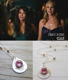 Blush Topaz pendant worn by Caroline (Candace Accola) on The Vampire Diaries Season 5 Episode 1 #TVD #Jewelry #TVDS5