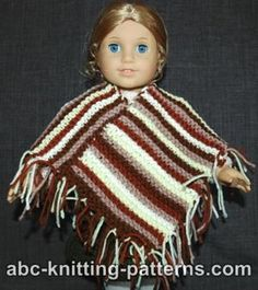 American Girl doll  poncho knitting pattern :-)