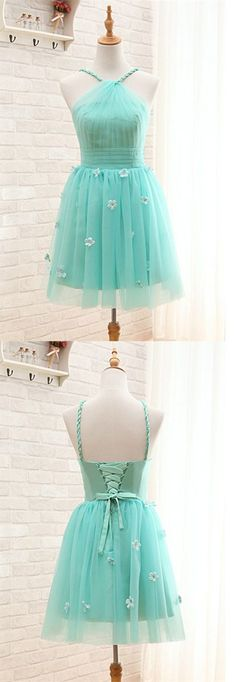 Short Homecoming Dress, Mint Green Prom Gowns, Halter