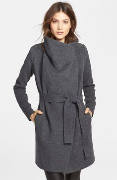 Vince+Leather+Trim+Asymmetric+Car+Coat+available+at+#Nordstrom