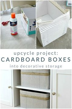 Make this easy upcycle project today! Save those cardboard boxes to turn into fabric-covered decorative storage. Just grab some spray adhesive, fabric, and a cardboard box upcycle projects home decor Cardboard Box Storage, Cardboard Box Crafts, Fabric Storage Boxes, Cardboard Furniture, Cardboard Crafts, Cardboard Playhouse, Cardboard Castle, Decorative Storage Boxes, Upcycled Furniture