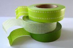 GREEN Washi Tape Japanese Tapes in Dot Grid Paper Pattern - Set of 3 from PrettyTape $8.50