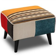 Romania Patchwork Fabric Ottoman Ottoman Footstool, Fabric Ottoman, Ottomans, Living Room Furniture Online, Furniture Decor, Single Chair, Contemporary Fabric, Stool Chair, Patchwork Fabric
