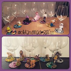 Gift sets also available. Order from facebook CK Handmade Gifts / instagram @ckhandmadegifts Wine Bottles, Glass Bottles, Disney Wine Glasses, Wine Glass Candle Holder, Decorated Wine Glasses, Creative Shot, Glass Bottle Crafts, Wine Craft, Gift Sets