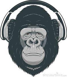 happy-monkey-vector-illustration-funny-gorilla-listening-to-music-headphones-56409362.jpg (391×450)