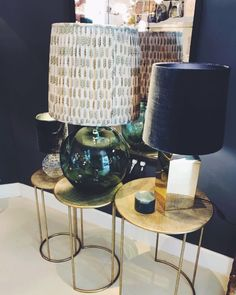 Fantastic table lamp display especially loving the giant sphere of mound blown glass with the bina print gathered shade… Blown Glass, Table Lamp, Victoria, Shades, Display, Lighting, Instagram, Design, Home Decor