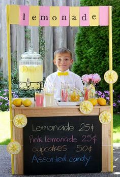 Lemonade stand ideas. The best of these is the idea of making little paper door hangers to hang on the neighborhood doors to let them know when your stand will be in business! Why didn't I think of that!?