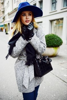 leather gloves with blue hat and gray coat
