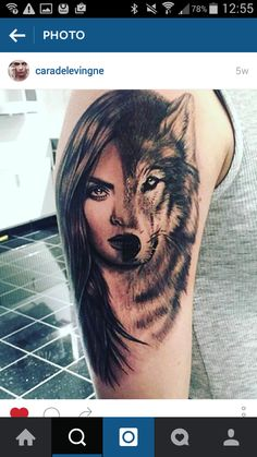 Girl and Wolf Tattoo. Cara Delevingne.