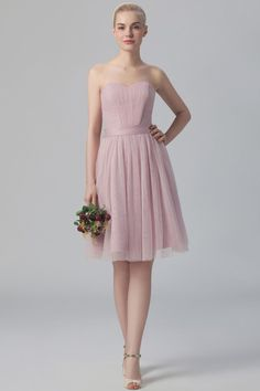 5b632033857 A-Line Strapless Sweetheart Tulle Short Bridesmaid Dress With Sash   bridesmaid  bridesmaiddresses
