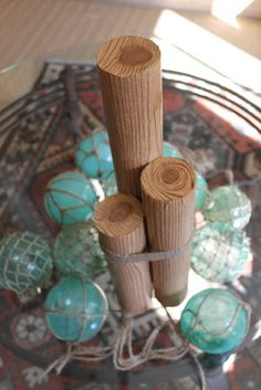Miss Kopy Kat: Using My Noodle(s) - decorative nautical pilings from foam pool noodles