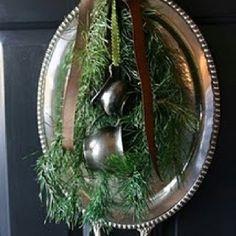 Heirloom silver and fresh evergreen door wreath