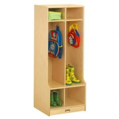 Childrens' double birch lockers with seat, can hang a coat, store shoes, and other items above.