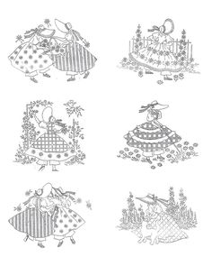 Digital 1950's Hand Embroidery Quilt PATTERN 12 Dolls of